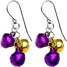 Handcrafted Purple and Gold Jingle Bell Earrings