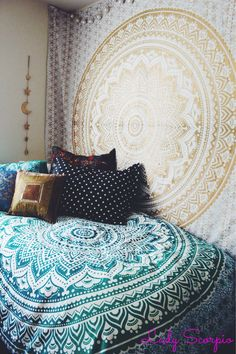 Lady Scorpio Bedroom. Turquoise & Gold Hippy Trippy Duvet & Mandala Tapestry
