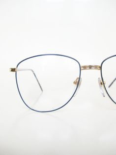a0053cd12bc Vintage Wire Rim Eyeglasses Womens 1970s Geek Chic Glasses 70s Dusty Blue  Navy Gold Metallic Shiny Seventies Nerdy Deadstock Slate Colorful