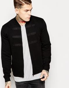 ASOS Jersey Bomber Jacket With Faux Leather & Eppaulettes