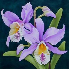 Violet Cymbidium by Leonard Thompson - painting in fabric motif - Orchidee Orchids Painting, Fabric Painting, Painting & Drawing, Watercolor Paintings, China Painting, Art Floral, Silk Art, Flower Pictures, Violet