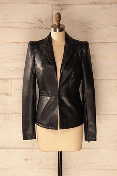 Elle ne blaguait jamais lorsqu'il s'agissait des affaires.   She never joked around when it came to business. Kentriko - Black synthetic leather blazer www.1861.ca