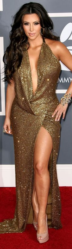 Kim Kardashian red carpet sexy golden sparkly dress