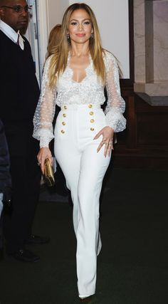 Trending Fashion Style: Statement Sailor Buttons. - Jennifer Lopez in Zuhair Muard Couture white lace blouse + high-waisted statement buttons sailor pants + coat at her book True Love Promotion In Conversation with Hoda Kotb Nov 2015.