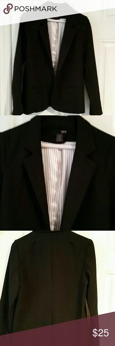 Aqua black blazer Black open blazer. Inside silky stripe lining. Poly. Rayon spandex. Front  pockets Aqua Jackets & Coats Blazers