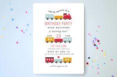 Birthday Train Children's Birthday Party Invitations by Sandra Picco Design at minted.com