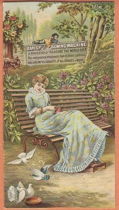 Victorian Trade Card Davis Sewing Machine Woman on Park Bench Doves and Roses | eBay
