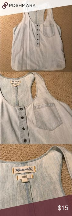 Madewell Chambray Tank Top Size L. In good condition. Madewell Tops Tank Tops