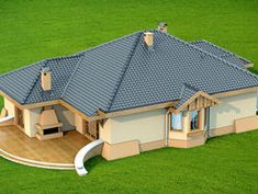 DOM.PL™ - Projekt domu DN Verona CE - DOM PC1-13 - gotowy koszt budowy Verona, Modern Bungalow House, Tiny House, House Design Pictures, Three Bedroom House Plan, Beautiful House Plans, Architectural House Plans, Simple House Design, Cupboard Design