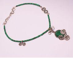 Malachite necklace wire wrapped jewelry handmade by BeyhanAkman