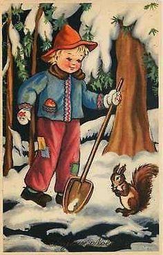 Christmas 1908 Boy Shovels Snow Squirrel Watches For Acorns Vintage Postcard