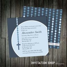 Items similar to contemporary communion cross invitations for boys with modern rosary and cross - printable or printed on etsy Primera Comunion Ideas Bautizo, Boys First Communion, Holy Communion Invitations, Thank You Messages, Happy Party, Seal Design, Invitation Set, Invitation Design, Response Cards