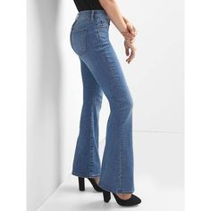 Gap Women Mid Rise Curvy Perfect Boot Jeans ($42) ❤ liked on Polyvore featuring jeans, medium indigo, petite, petite bootcut jeans, stretch bootcut jeans, bootcut jeans, white bootcut jeans and white denim bootcut jeans