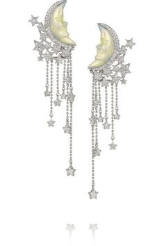 LYDIA COURTEILLE Moon 18-karat white gold, diamond and enamel earrings