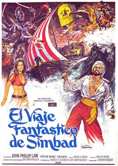 """Brian Bysouth """"The Golden Voyage of Sinbad"""" Columbia Pictures (Italian release), 1974 Movie Poster Art, Film Posters, Cinema Posters, Sinbad The Sailor, Spanish Posters, Romantic Comedy Movies, Martial Arts Movies, Adventure Movies, Fantasy Movies"""