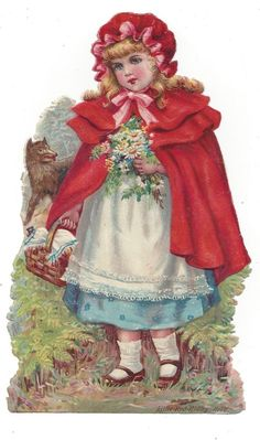 Victorian Die Cut Scrap Little Red Riding Hood and Wolf