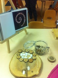 Loose parts exploration, provocation. Mini wood cookies, shells and rocks. I love the wood cookie as a work space!