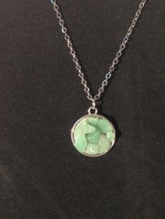 Jade Stone Chip Silver Necklace by RebelScumPrincess on Etsy, $13.00