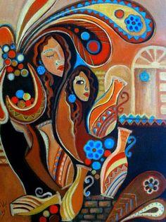 Layla Noeras | Iraqi Art Hamsa Art, Arabian Art, Indian Art Paintings, Turkish Art, Egyptian Art, Islamic Art, African Art, Art Sketches, New Art