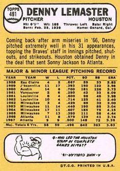 1968 Topps #491 Denny Lemaster Back
