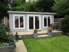 The largest contemporary garden building in our range with large portrait windows. Log Cabin Sheds, Garden Log Cabins, Small Log Cabin, Cabin House Plans, Log Cabin Homes, Small Cabins, Large Summer House, Summer House Garden, Garden Fun