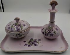 STUNNING Vanity Set - Vintage - Porcelain- 5 pieces - Vanity Tray - Perfume Bottle- Trinket/Jewelry Box- Purple Violets - Romantic by InfinityCrafts on Etsy