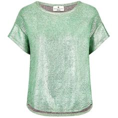 Essentiel Antwerp - JERSEY SHINY TOP ($62) ❤ liked on Polyvore featuring tops, t-shirts, shiny tops, green top, wet look top, green jersey and holographic top