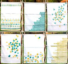 hand-printed tea towels (eraser stamps and potatoes)