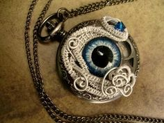 Pocket Watch - Steampunk Timepiece Gothic Dragon Evil Eye - All Seeing Eye - Color Shifting White Ice Blue - 45mm