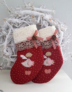 Weihnachtsdeko - kleiner Nikolausstiefel zum Befüllen Landhaus - ein Designerstück von Feinerlei bei DaWanda