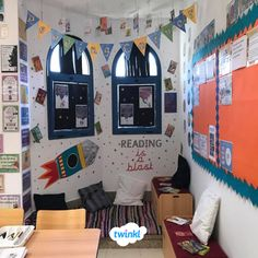 Reading is a blast! We love this space themed reading corner from Twinkl member, Catherine! Space Reading Corner, Reading Corner Classroom, Eyfs Classroom, Classroom Displays, Classroom Decor, Class Decoration, School Decorations, Book Corners, Reading Corners