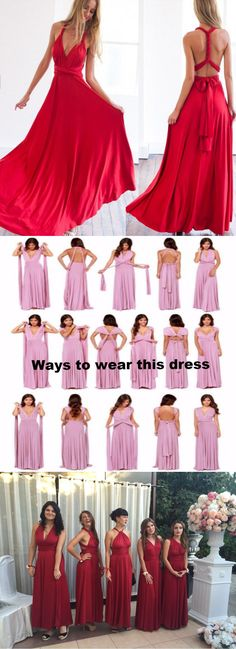 It is so funny one dress several ways to wear. 2017 red long prom dress, 2017 long red bridesmaid dress