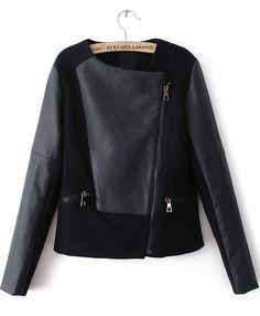 Black Contrast PU Leather Asymmetric Zip Jacket EUR€29.59