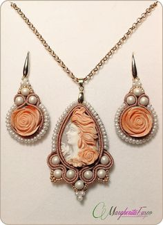 Handmade soutache earrings and pendant with carved shell