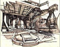 Syd Mead - concept art for the Sulaco from Aliens, pt 2: interiors (sourced from the Alien Anthology blu-ray set)