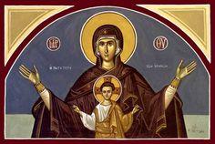 More Spacious than the Heavens (Platytera), The Holy Transfiguration Monastery Store Archangels, Orthodox Icons, Hagiography, Byzantine Art, Faith Art, Image, Saint Rafael, Christ Child, Maria