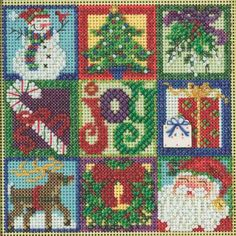 Stitched area of Joy of Christmas Cross Stitch Kit Mill Hill 2015 Buttons & Beads Winter