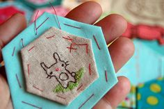 This lady's photo stream is full of awesome projects!  embroidered bunbun hexie by cathygaubert, via Flickr