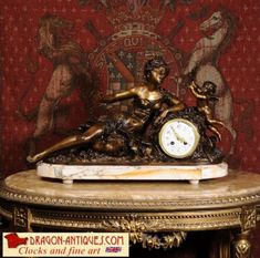 Stunning Antique French Boudoir Clock by Hippolyte Fran�ois Moreau (1832-1927) and Louis Auguste Moreau (1834-1917)