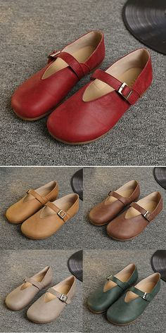 US$40.89  Socofy Hollow Out Buckle Leather Soft Flat Casual Slip On Loafers