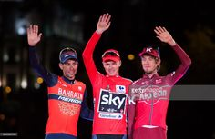 Britain's Chris Froome (centre) of Team Sky celebrates on the podium with second placed Italy's Vincenzo Nibali (L) of the Bahrain-Merida's team and third placed Russian cyclist Ilnur Zakarin of Team Katusha Alpecin after winning the Vuelta a Espana cycling race after the Stage 21 on September 10, 2017 in Madrid, Spain.