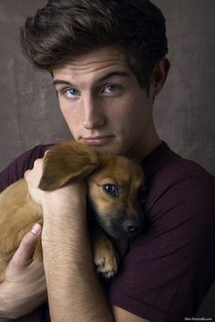 Nico Tortorella and puppy. which one is cuter, i can't decide