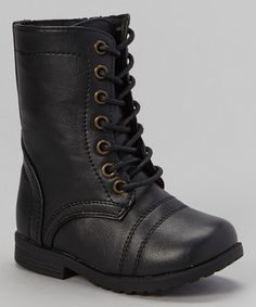 Look what I found on #zulily! Black Combat Boot by Chatties #zulilyfinds