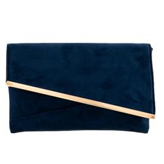 Dark blue faux suede clutch bag with gold coloured metal edge trim to the front The bag fastens with a flap over the top and a concealed metal Navy Clutch Bags, Blue Clutch, Gold Clutch, Pashmina Wrap, Prom Accessories, Prom Outfits, Free Uk, Evening Bags, Dark Blue