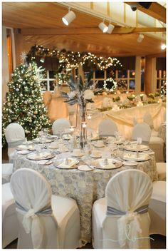 Winter wedding decor....I would love to have some sparkly Christmas trees