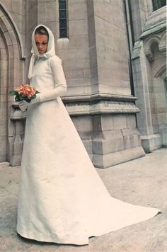 Minimalist Pierre Cardin vintage wedding gown.