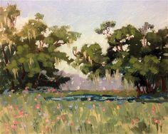 """Pond Trees"" - Original Fine Art for Sale - ©Linda Blondheim"