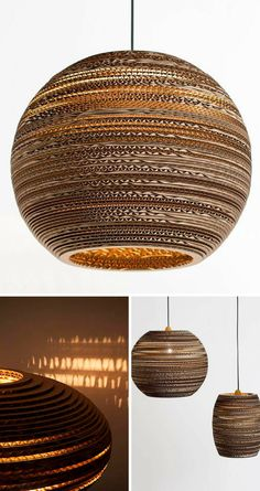 I love this so much! Pendant lampshade made from layers of recycled cardboard. Really inspiring use of cardboard to make something truly beautiful. #affiliate