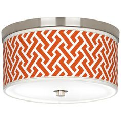 "Red Brick Weave Giclee Nickel 10 1/4"" Wide Ceiling Light (5""h)"