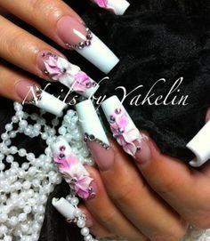 3D flower  Nails, unhas de acrílico, acrylic nails, gel nails, nail art